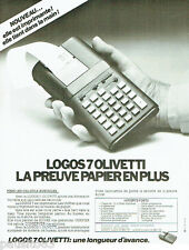 PUBLICITE ADVERTISING 115  1978  OLIVETTI  la calculatrice LOGOS 7