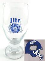Miller Lite Fine Pilsner Beer Footed Pilsner Glass with Helmet Bottle Opener