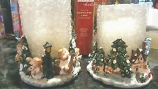 Two Living Home Holiday Hurricane Lamps With Candles, resin bases, NEW