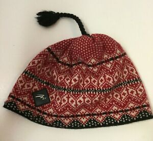 Merkley Headgear Wool Beanie Hat Tassle Red Black Fair Isle Canada