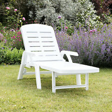 More details for sun lounger garden recliner foldable white plastic chair outdoor furniture patio