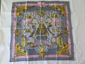 Authentic HERMES Paris ETRIERS Silk Square Scarf Wrap