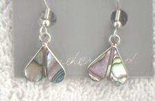 Earrings small dual/double teardrop/drop Abalone Shell Alpaca new heart