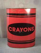 Vtg Cheinco CRAYONS Red Crayola Trash Can Tin Waste Basket