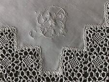 STUNNING ANTIQUE IRISH LINEN TABLECLOTH~BEAUTIFUL DEEP LACE TRIM/MONO B.