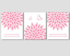 3 prints, art for baby girl nursery decor - prayer, pink flowers, butterflies