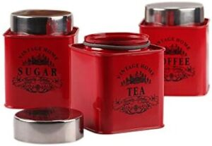 Set of 3 Stainless Red Square Half Deck Tea, Coffee & Sugar Canister Jars