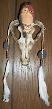 Indian Warrior Spirit Face on Wolf Skull