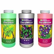 General Hydroponics HARDWATER Flora Series Pint 16oz Grow Bloom Micro - GH 16 oz