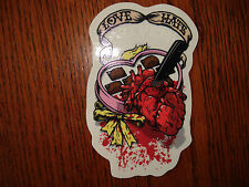 GIVEN SKATEBOARDS LOVE HATE HEART AND CANDY LOGO SKATEBOARD STICKER