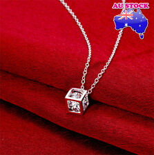 925 Sterling Silver Filled Necklace with Crystal Square Magic Cube Pendant