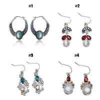 Women 925 Silver Turquoise/Ruby Boho Dangle Drop Hook Earrings Vintage Jewelry