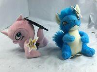 Neopets Plush!! Pink Flatsom & Blue Kyrii 2005 Xiamouse Harris Free Shipping