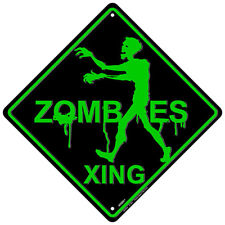 METAL SIGN Zombie Crossing embossed metal sign 12 x 12 inches