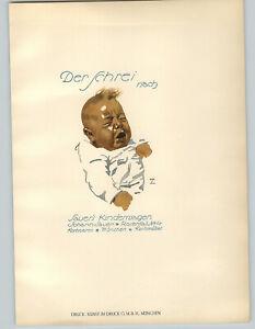 1926 Ludwig Hohlwein Munchen Baby Cries Der Schrei Sauer's Color Poster Print