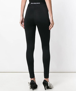 BALENCIAGA logo back high waist stretch black jersey zipper leggings 38-F NEW