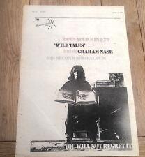 GRAHAM NASH (CSN) Wild Tales 1974 UK Poster size Press ADVERT 16x12 inches