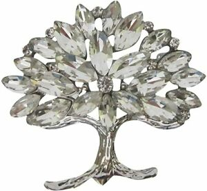 Silver Crystal Bejewelled Tree of Life Brooch Mulberry Tree Brooch New Lapel Pin