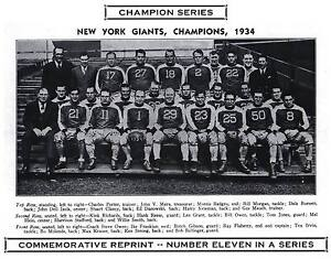 1934 New York Giants NFL Champion Photo HEIN POOLE