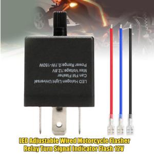 1×LED Adjustable Wired Motorcycle Bike Flasher Relay Turn Signal Indicator Flash
