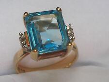 10kt Topaz & Diamond Designer Gold Ring  Size 7.75