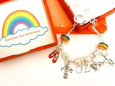 "European Charm Bracelet Wizard of OZ ""Over the Rainbow"" Gift Box & Organza Bag"