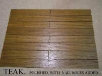 DOLLS HOUSE FLOORBOARDS, FLOORING. TEAK.HARDWOOD FLOOR BOARDS. 6 TYPES AVAILABLE