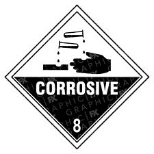 Corrosive 8 Hazard Warning Labels Stickers COSHH PPE
