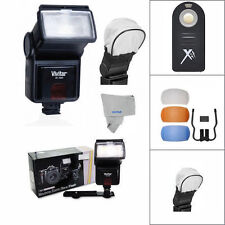 VIVITAR PRO FLASH + 3 HD DIFFUSERS FOR NIKON CANON EOS REBEL T3 T5 T5I T6 T7 T7I