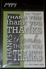 New Poppy Cut Stencil Emboss Create THANK YOU BACKGROUND Die Style# 1031