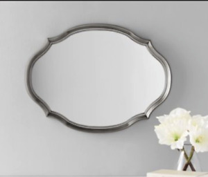 Contemporary Pewter Shaped Oval Wall Mirror Elegant & Chic Silver 19 x 16 in