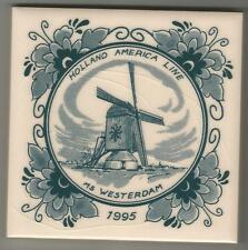 Holland America Line  Blue Delft Tile ...ms WESTERDAM ... 1995