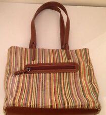 Stone Mountain Woven Weave Vertical Stripe Bag Purse Handbag Brown Tan Green