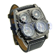 Stainless Steel Oulm Luxury Sport Military Dial Men Quartz Wrist Watch BK