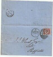 1872 LEEDS DUPLEX PART LETTER RARE PLATE 8 HALFPENNY BANTAM >J WHEAT SHEFFIELD