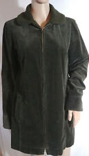 J Jill Heritage Tumbled Cord Coat Jacket Size XS Green Lined Zip Front