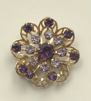 Vintage Flower  prong Set Brooch  gold tone metal with crystals