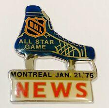 1975 NHL All-Star Game NEWS Pin Pass Montreal Jan. 21, '75 Vintage Hockey Media