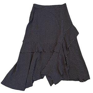 MINT VELVET Skirt Size 10 28 W Black Spotted Asymmetric Uneven Hem Floaty Midi