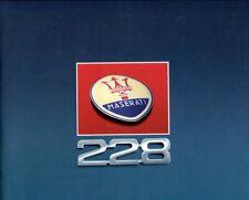 Maserati 228 (Biturbo type) Italian text prestige sales brochure
