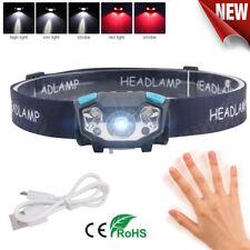 3*XPE LED USB Headlamp Motion Sensor Fishing Head Light Torch 6Modes 500LM 200m