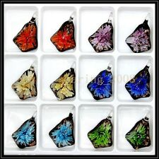 12 Pcs Lovely Flowers Crystal Murano art glass beaded leather pendant necklace