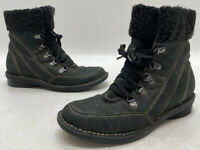Clarks Womens Black Leather Faux Fur Zip Up Winter Ankle Boots Size 7M