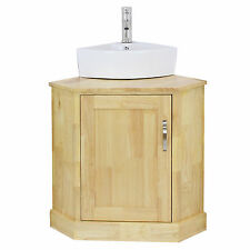Bathroom Corner Vanity Unit Solid Oak & Corner Wash Basin Ceramic Sink Tap Plug