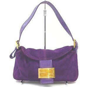 Fendi Hand Bag Mamma Bucket Purple Suede Leather 1715661