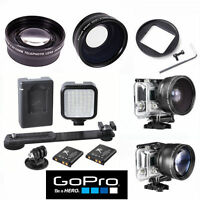 HD WIDE ANGLE LENS + TELEPHOTO ZOOM LENS + 36 LED LIGHT FOR GOPRO HERO5 BLACK