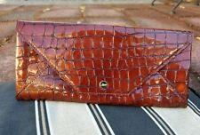Abas Metalic Bronze  Leather Mock Croc Envelope Clutch Handbag