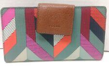 Fossil Bifold Credit Card Wallet Organizer Zipper Coin Change Pocket Gray Pink