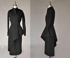 Vintage VTG 40s 1940s JEANNE LANVIN Black Peplum Wrap Dress Long Sleeves Pencil