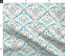 New listing Damask Orange Teal Baby Shower Uterus Abstract Spoonflower Fabric by the Yard